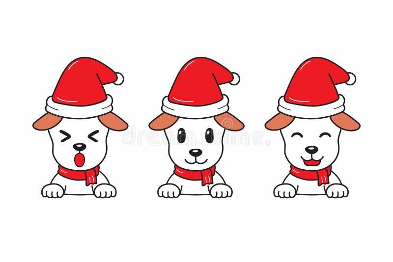 Chien mignon de bande dessinée de vecteur avec l'ensemble de chapeau de Noël du père noël illustration stock