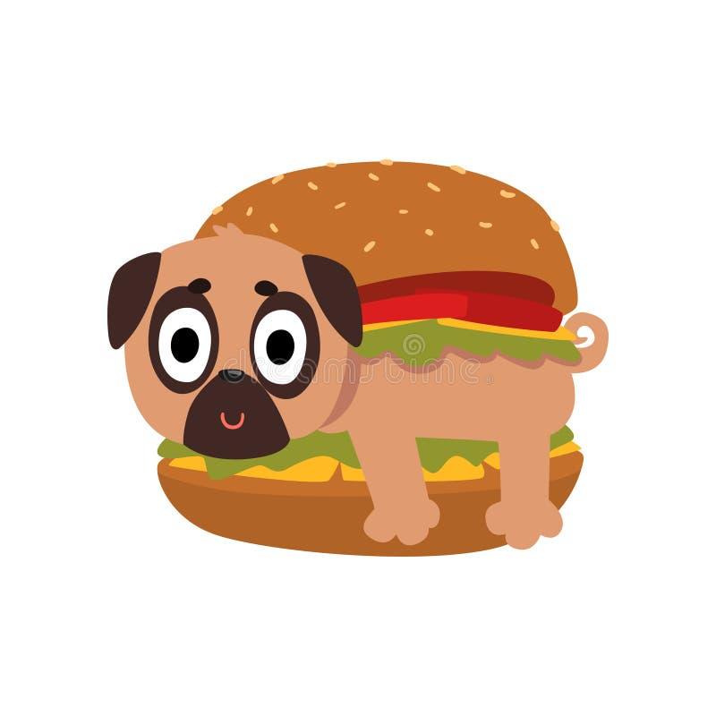 Chien mignon de roquet en hamburger, caractère drôle de chien à l'intérieur d'illustration de vecteur de produit d'aliments de pr illustration stock