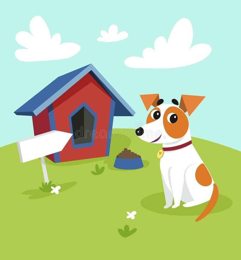 Chien mignon de terrier de Russell de cric se reposant devant son chenil dans un jardin, illustration rurale de vecteur de paysag illustration libre de droits