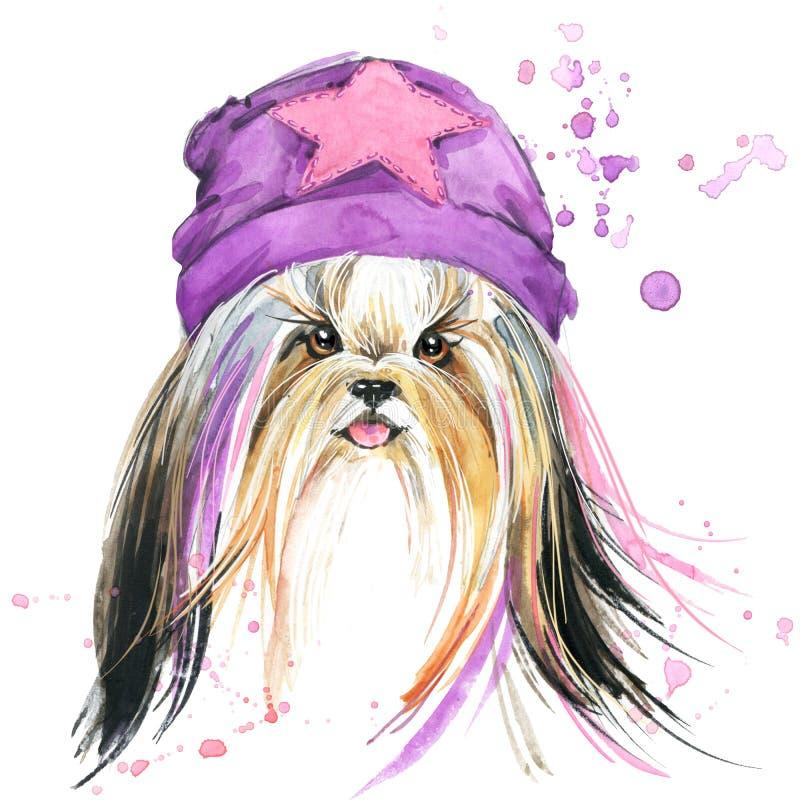 Chien mignon Graphiques de T-shirt de chien fond d'illustration de chien d'aquarelle illustration libre de droits