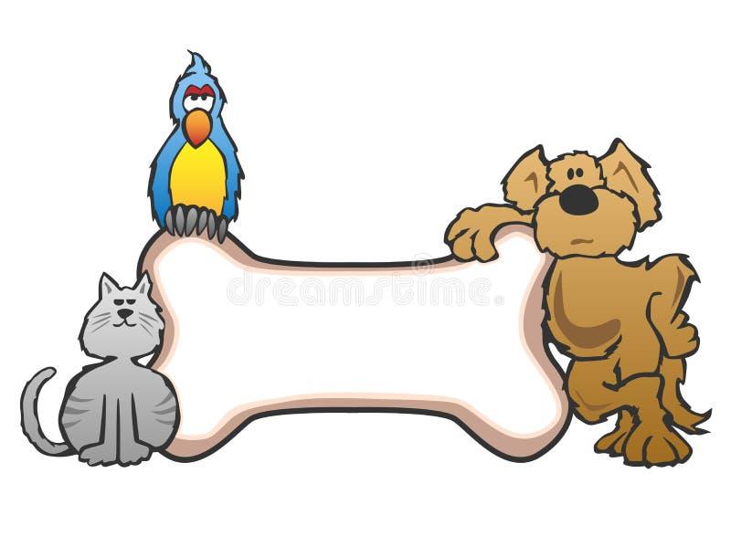 Chien, oiseau et chat avec le logo de signe d'animal familier d'os illustration de vecteur