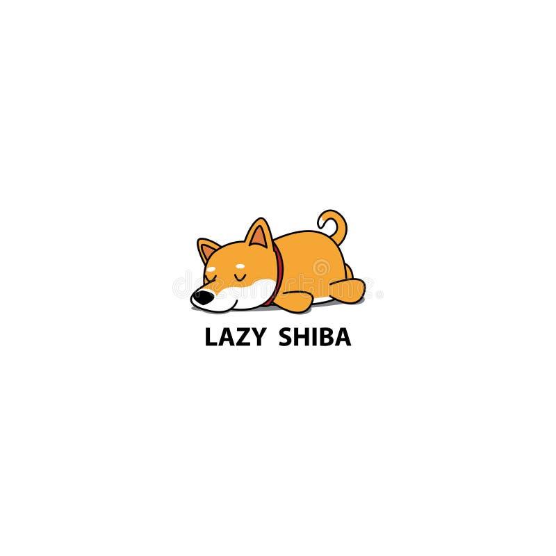 Chien paresseux, icône mignonne de sommeil de chiot d'inu de shiba, conception de logo illustration libre de droits