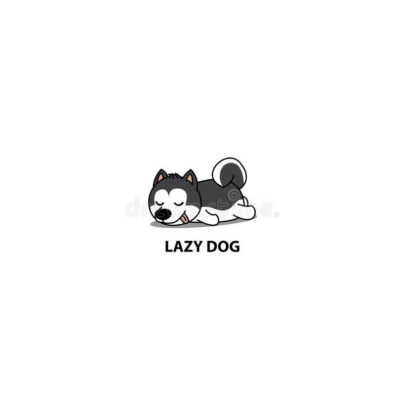 Chien paresseux, icône mignonne de sommeil de chiot de chien de traîneau sibérien, illustration de vecteur illustration de vecteur