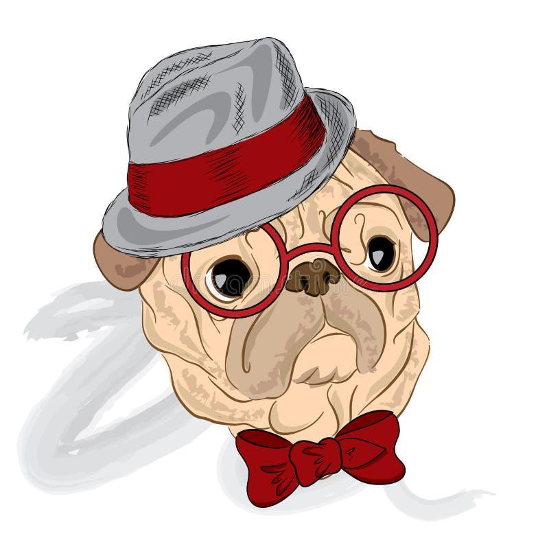 Chien peint à la main Collection de chiens de race vecteur de roquet Roquet utilisant un chapeau et des lunettes de soleil illustration libre de droits