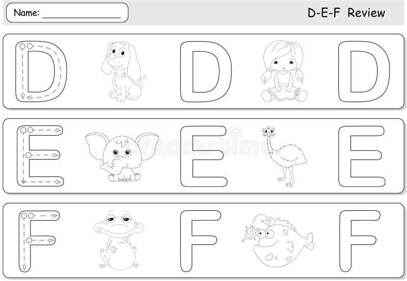 Chien, poupée, éléphant, émeu, grenouille et poissons de bande dessinée Tracin d'alphabet illustration libre de droits