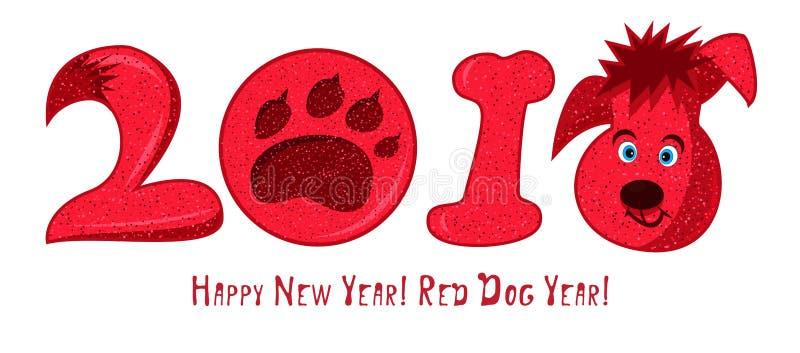 2018 chien rouge de personnage de dessin animé, signe chinois de zodiaque illustration de vecteur