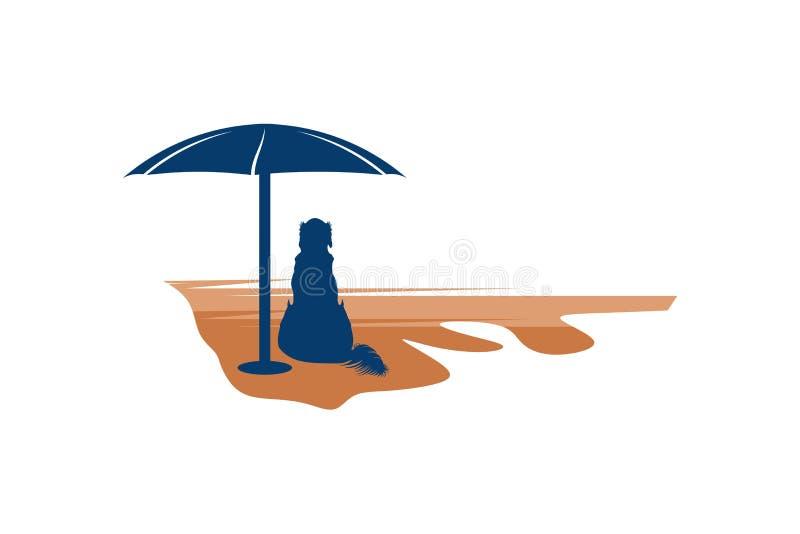 chien sur l'inspiration de logo de plage d'isolement sur le fond blanc illustration de vecteur