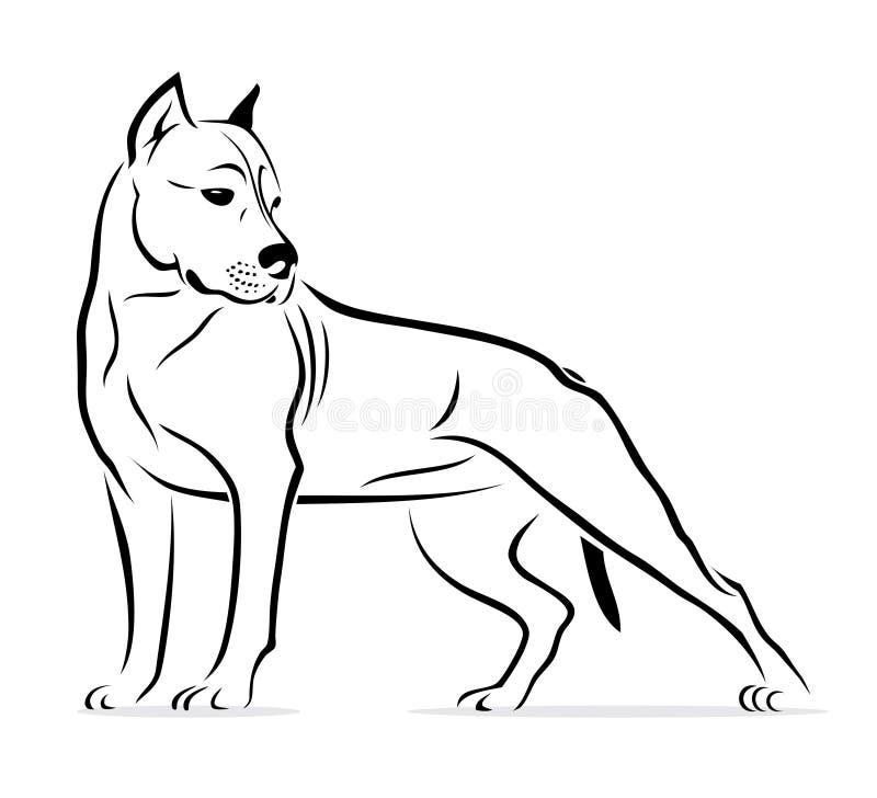 Chien terrier de pitbull illustration de vecteur