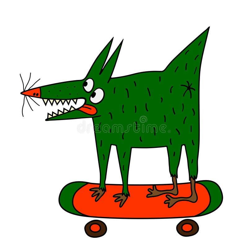 Chien vert étrange sur la planche à roulettes illustration de vecteur