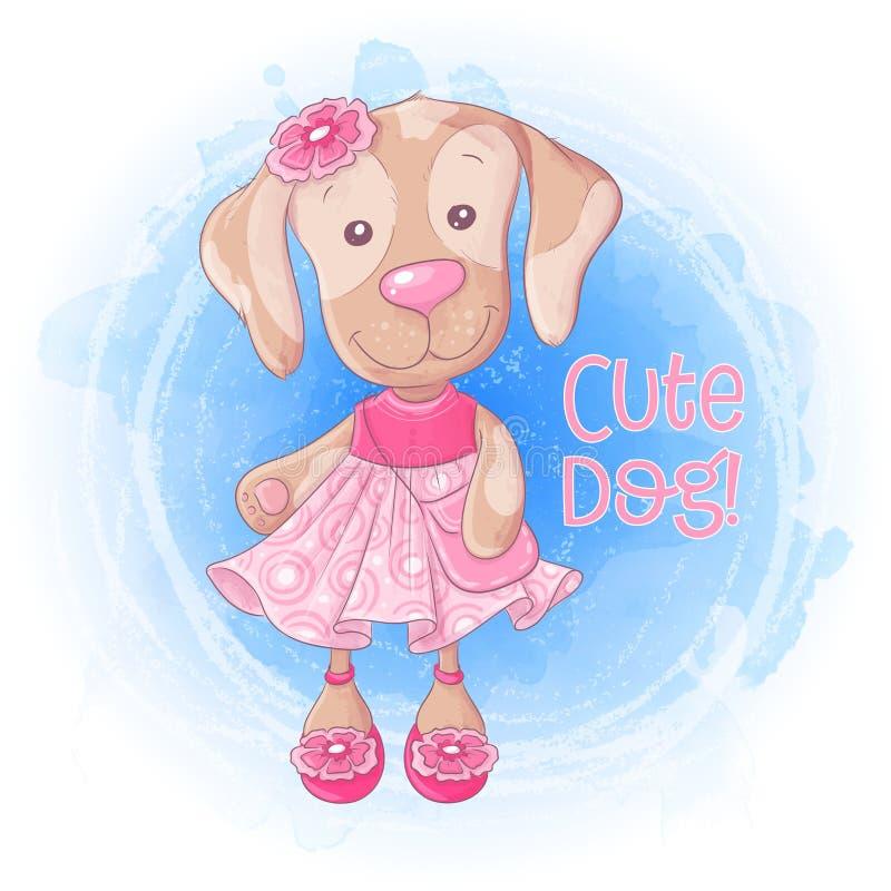 Chienchien mignon de fille de bande dessinée avec un sac à main dans une robe rose Illustration de vecteur illustration stock