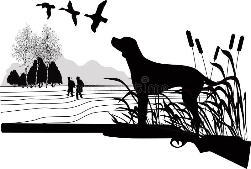 Chiens d'une chasse de canard illustration libre de droits