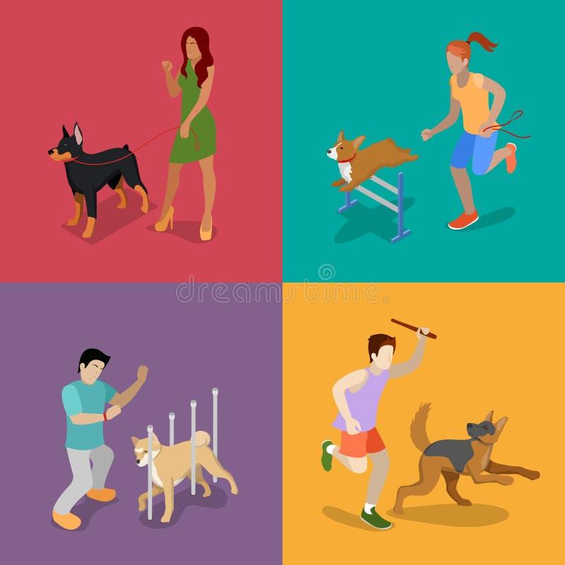 chiens de formation Les gens avec des animaux familiers Illustration 3d plate isométrique illustration stock