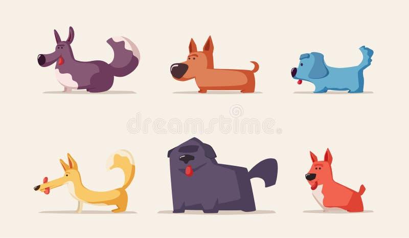 Chiens drôles mignons Illustration de vecteur de dessin animé Caractères d'animal familier illustration libre de droits