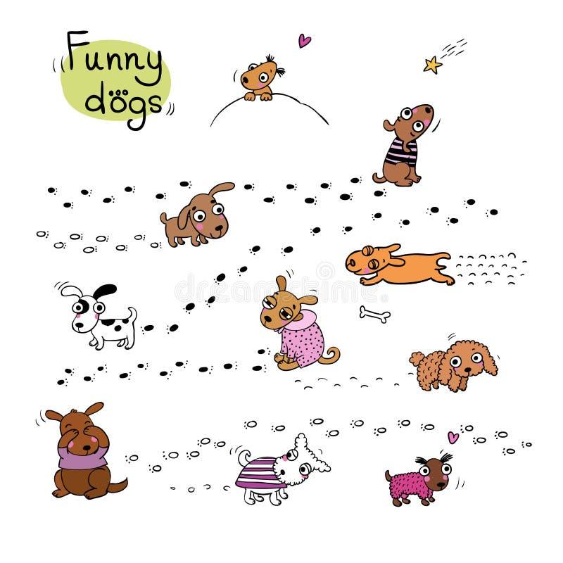 Chiens drôles de bande dessinée dans la neige illustration libre de droits