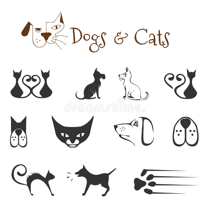Chiens et chats illustration de vecteur