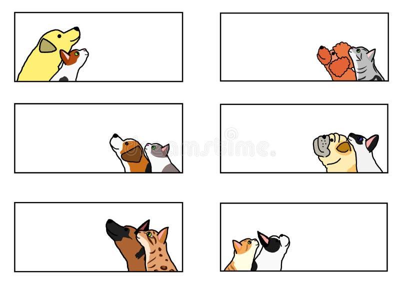 Chiens et chats recherchant l'ensemble de bannière de profil illustration de vecteur