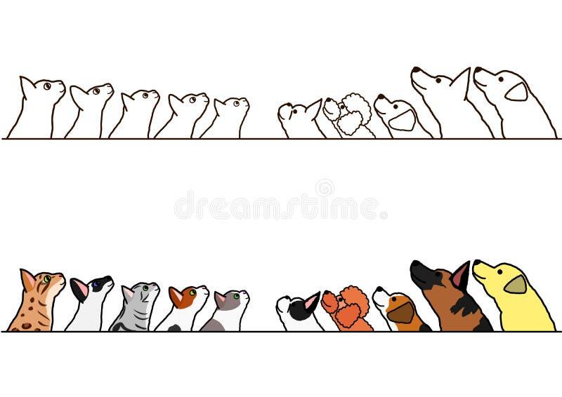 Chiens et chats recherchant l'ensemble de frontière de profil illustration libre de droits