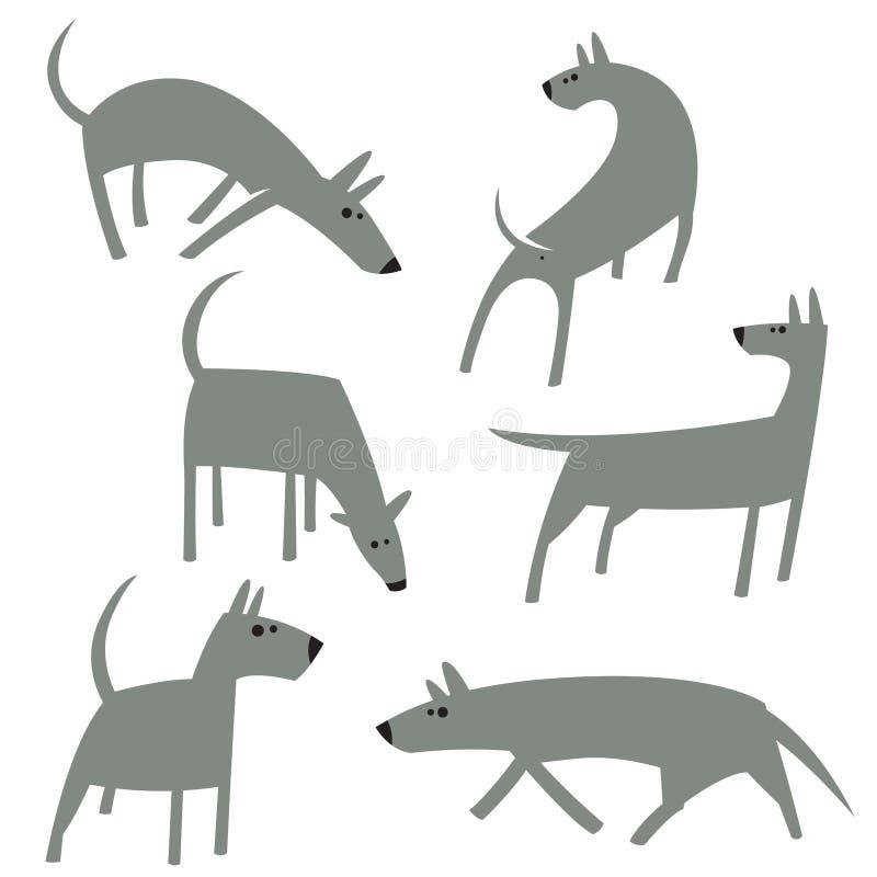 Chiens simples mignons réglés Caractères de chien de bande dessinée dans le style plat illustration stock