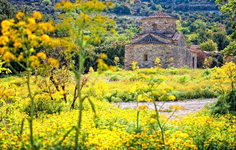 Chiesa attraverso i fiori gialli, Cipro di Lefkara fotografie stock libere da diritti