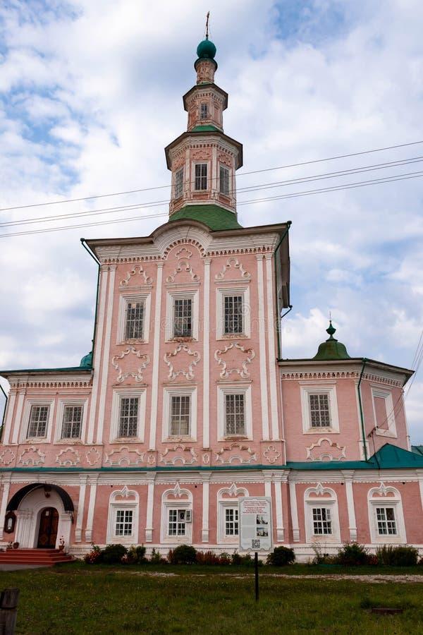 Chiesa barrocco di St John il battista in Totma, regione di Vologda, Russia fotografia stock libera da diritti