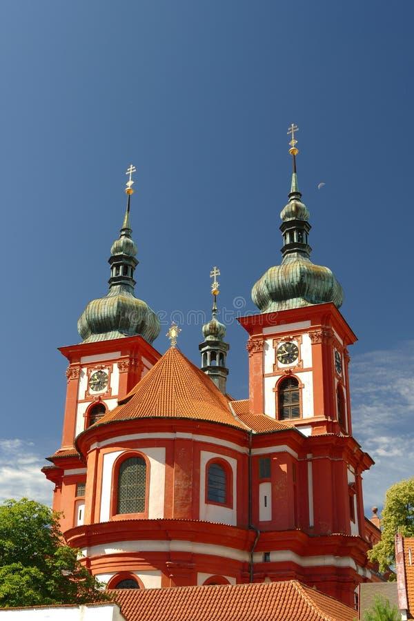 Chiesa barrocco St Mary, Stara Boleslav, repubblica Ceca fotografie stock