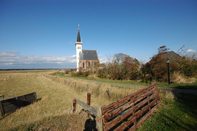 Chiesa bianca di Litte nei Paesi Bassi di Texel immagini stock