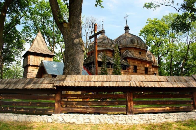 Chiesa cattolica greca ucraina di legno della madre santa di Dio in Chotyniec, Podkarpackie, Polonia immagini stock libere da diritti