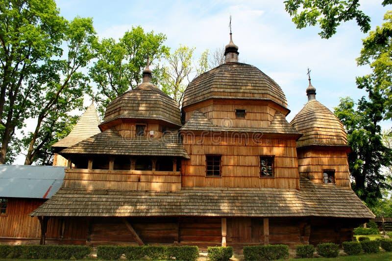 Chiesa cattolica greca ucraina di legno della madre santa di Dio dentro fotografia stock