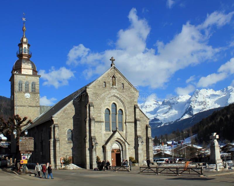 Chiesa cattolica nel grande-Bornand, Francia immagine stock