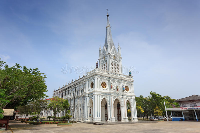 Chiesa cattolica a Samut Songkhram immagine stock