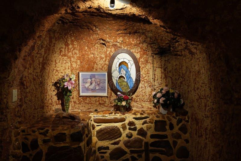 Chiesa cattolica sotterranea in Coober Pedy fotografia stock libera da diritti