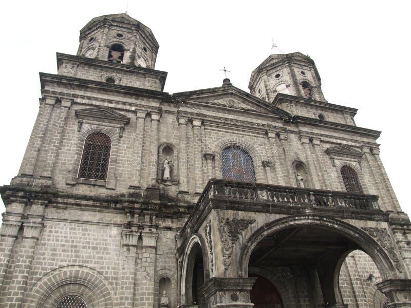 Chiesa cattolica spagnola di era dello spagnolo anziano in pampanga Filippine della città di Angeles fotografia stock libera da diritti