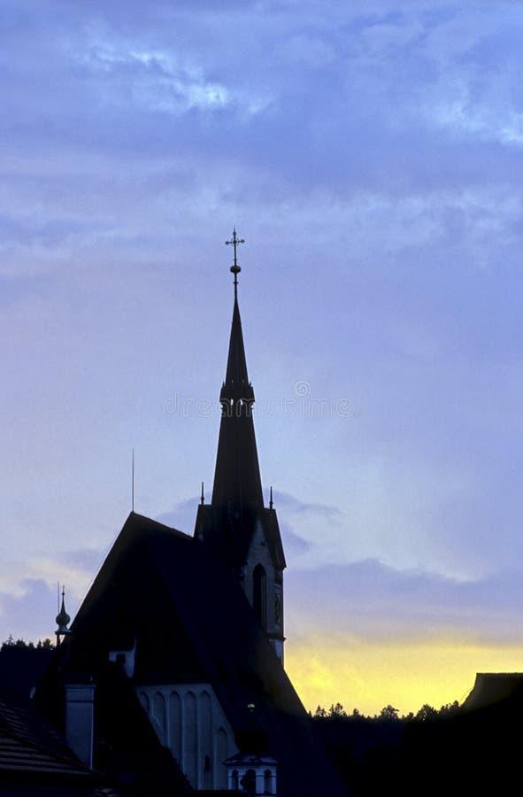 Chiesa Cesky Krumlov, Repubblica ceca immagine stock