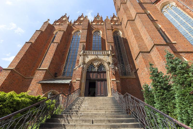 Chiesa collegiale dell'incrocio e di St Bartholomew santi, Ostow Tumski, Wroclaw, Polonia fotografia stock