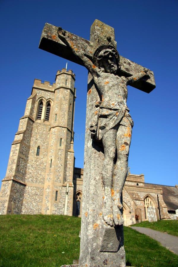 Chiesa con la croce fotografie stock libere da diritti