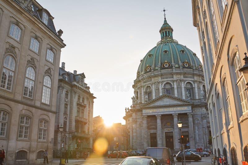 Chiesa Copenhaghen del ` di Frederik nel tramonto fotografie stock