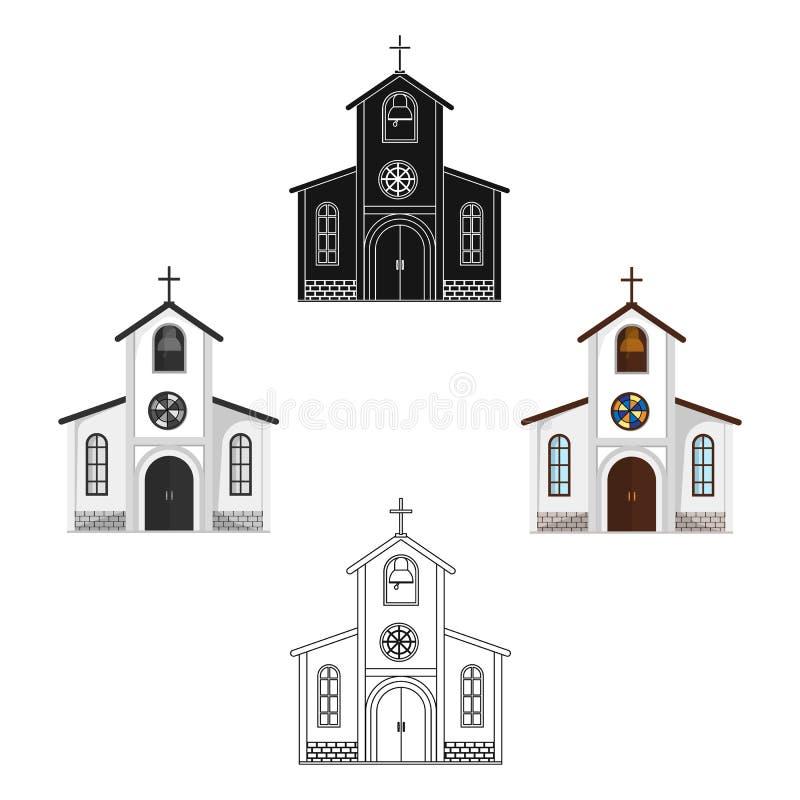 Chiesa in cui la sposa e lo sposo conducono un rito prima delle nozze Singola icona di nozze nel fumetto, vettore nero di stile illustrazione vettoriale