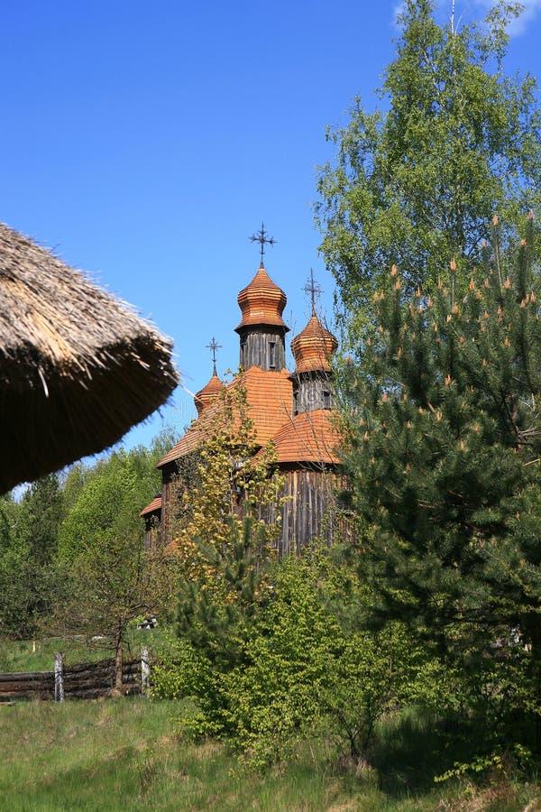 Chiesa dal museo dell'aria aperta di Pirogovo fotografia stock libera da diritti