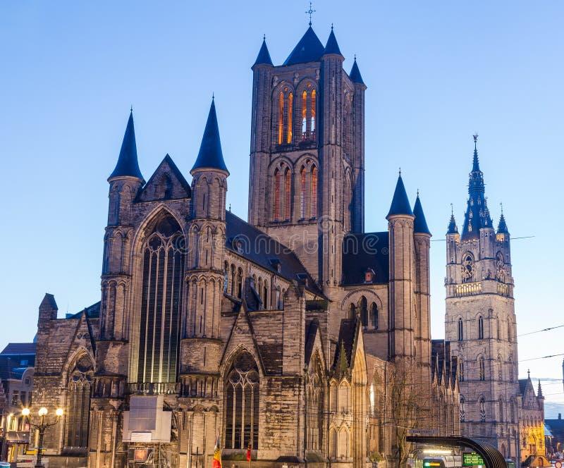 Chiesa del ` di San Nicola a Gand immagine stock libera da diritti