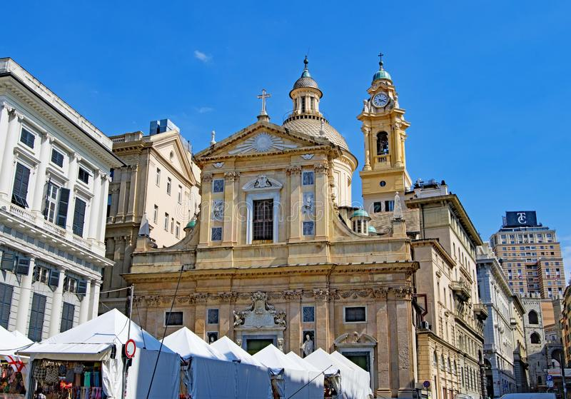 Chiesa del Gesu dei Santi Ambrogio ε Andrea, στη Γένοβα, Ιταλία σε Πάσχα 2019 στοκ φωτογραφία