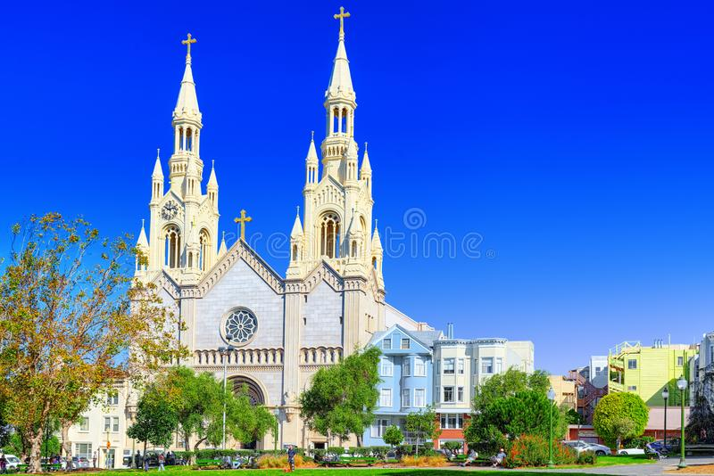 Chiesa del Paul e del Peter santo a San Francisco immagine stock