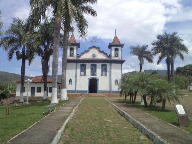 Chiesa del rosario, Barrão de Cocais nel patrimonio storico di Minas Gerais fotografia stock libera da diritti