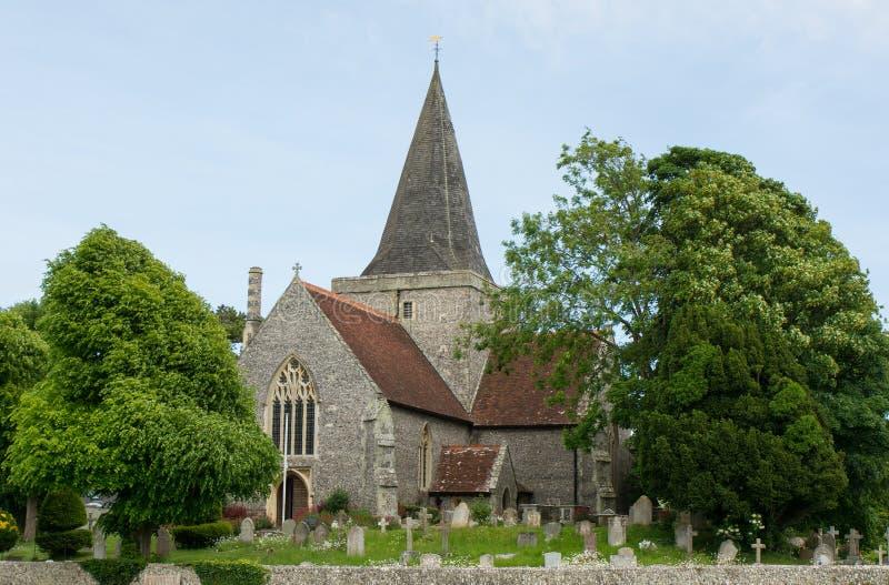 Chiesa del ` s di St Andrew, Alfriston, Sussex, Inghilterra fotografie stock libere da diritti