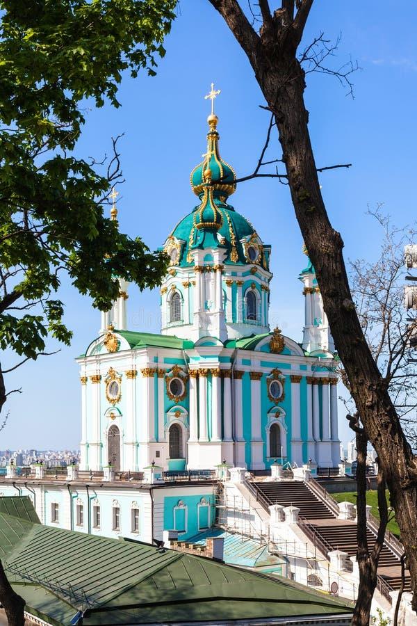 Chiesa del ` s di St Andrew nella città di Kiev fotografia stock libera da diritti