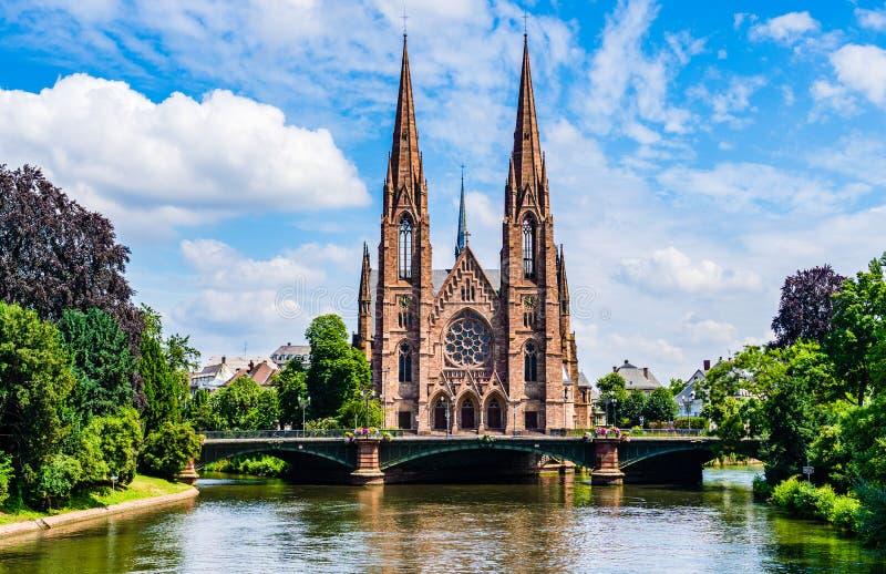 Chiesa del ` s di St Paul a Strasburgo, l'Alsazia, Francia fotografie stock libere da diritti