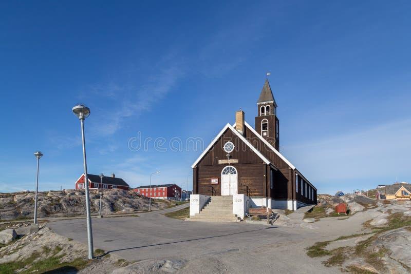 Chiesa del ` s di Zion in Ilulissat, Groenlandia fotografie stock