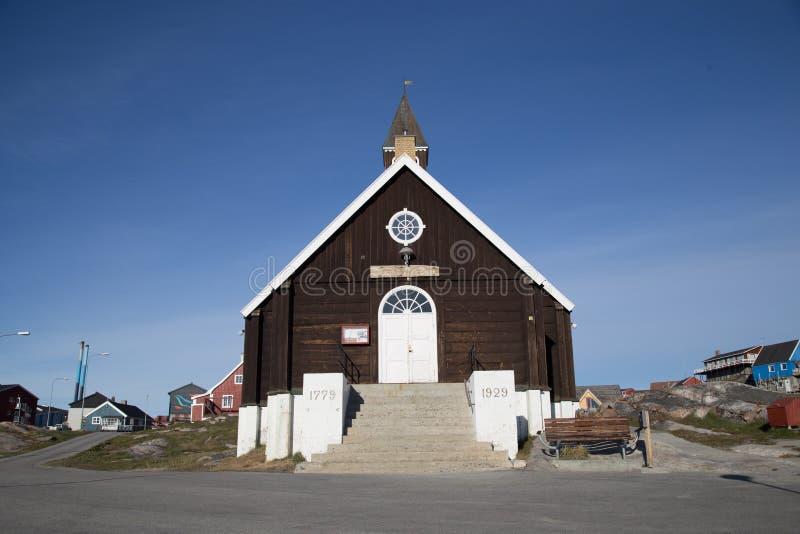 Chiesa del ` s di Zion in Ilulissat, Groenlandia fotografia stock