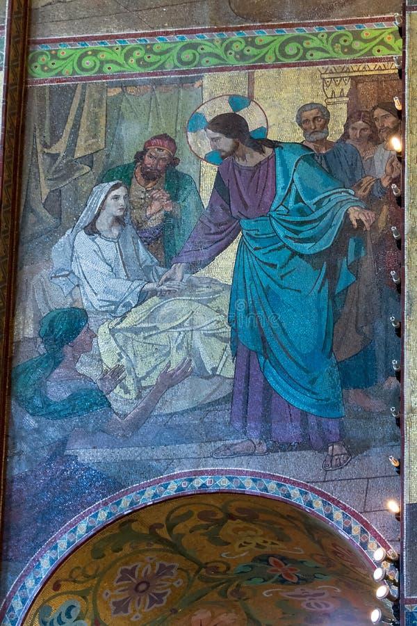 Chiesa del salvatore su anima rovesciata Atti di episodi di Gesù C immagine stock libera da diritti