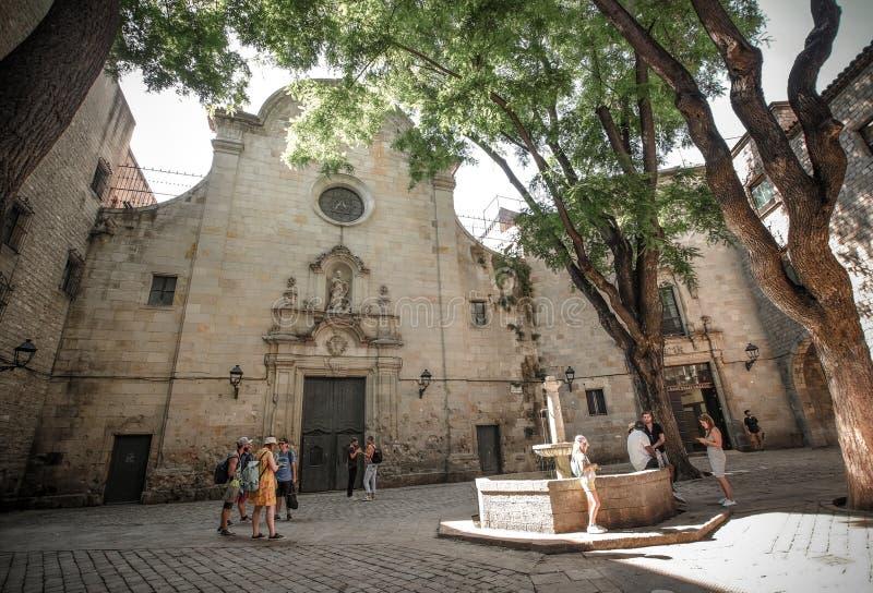 Chiesa del san Philip Neri Barcelona immagini stock