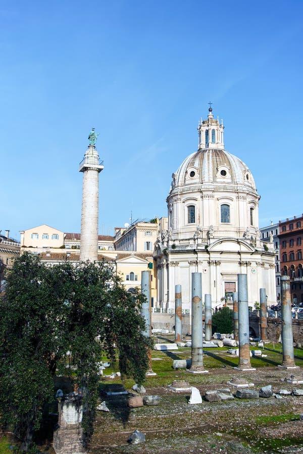 Chiesa del Santissimo Nome Di Maria al Foro Traiano in Rome, Italië stock foto